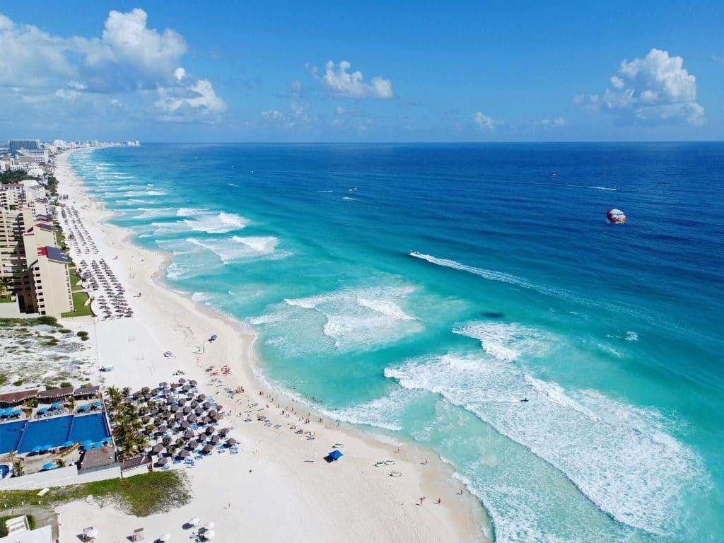 Cancun beach and hotel zone aerial view