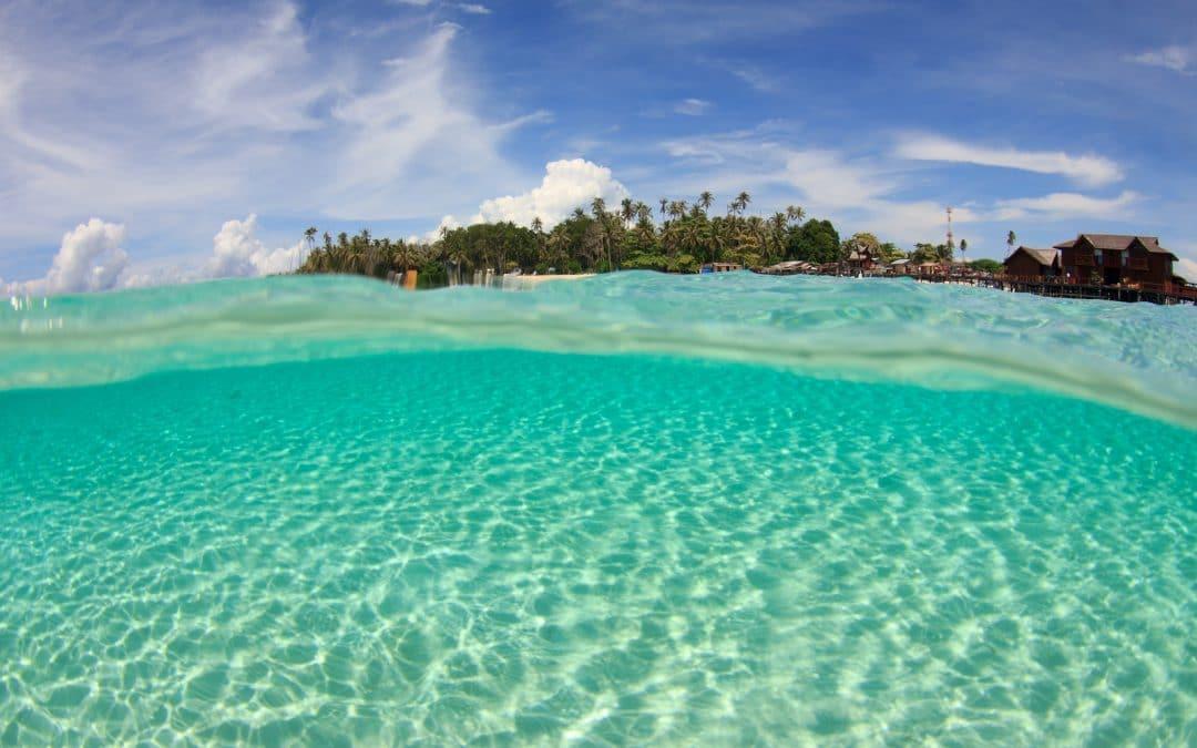 Tropical Island and sandy ocean floor
