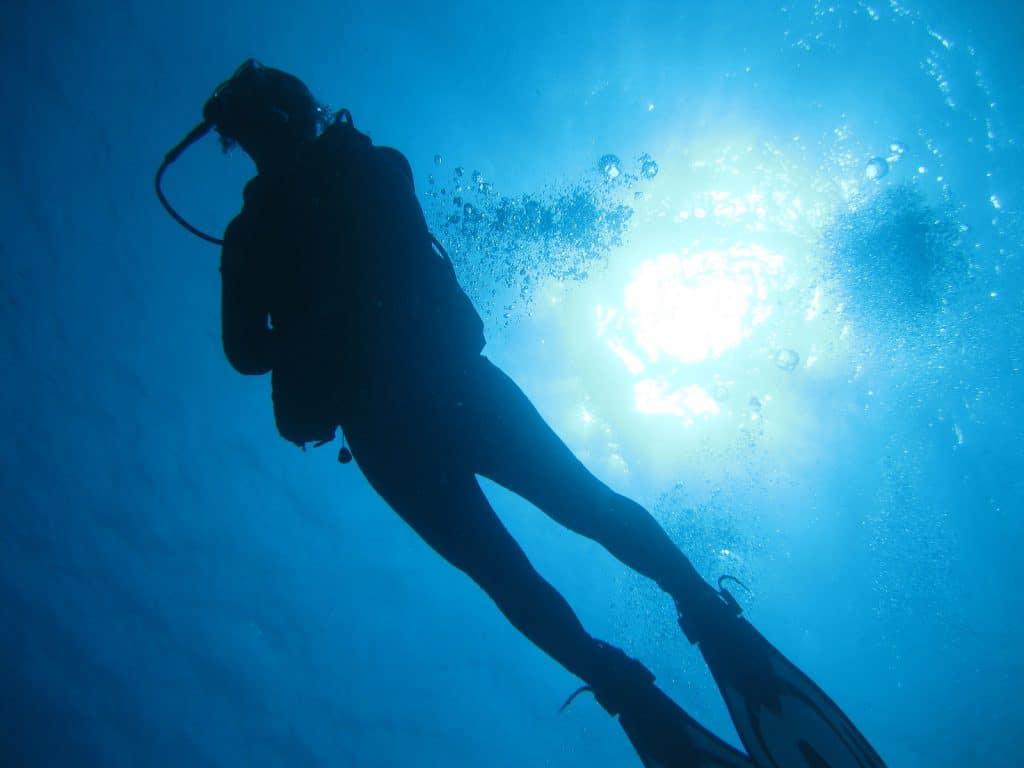 A scuba diver, swims beneath the suns rays Tripps Plus Las Vegas