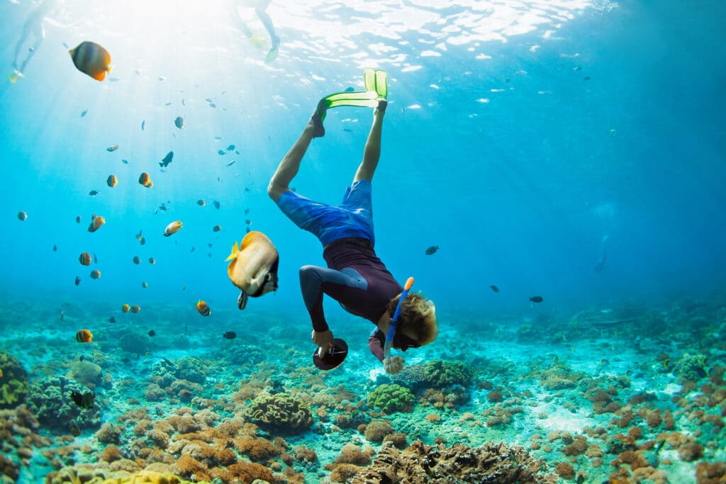 snorkeling mask with camera dive underwater with tropical fishes in coral reef sea pool via Tripps Plus Las Vegas