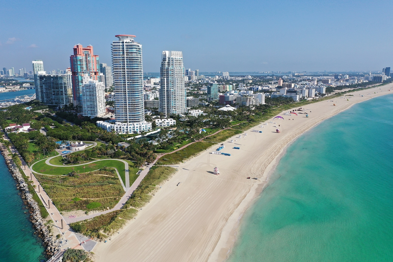 Aerial view of South Pointe Park and South Beach in Miami